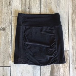 Free People Black Scunched Mini Skirt